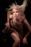Rapture Model. Close-up of an elegant fashion female modeling a brown print dress with hair blowing in the wind Royalty Free Stock Photography