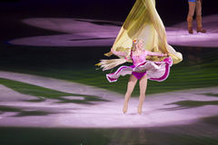 Rapunzel dances in Disney on Ice. Rapunzel dances with ribbons of her hair during the second half of Disney on Ice Dare to Dream Stock Images