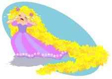 Rapunzel de grito ilustração stock