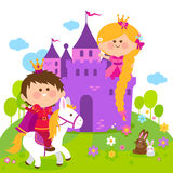Rapunzel fairy tale princess at the castle and prince riding a horse. Beautiful princess with long hair at a castle, and a prince riding a horse Stock Photo