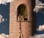 Rapunzel and her lover Stock Images