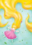 Rapunzel het ontspannen bepaalt op gras Stock Illustratie