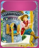 Rapunzel - książe lub princess - kasztele - rycerze i czarodziejki - ilustracja dla dzieci Zdjęcia Stock