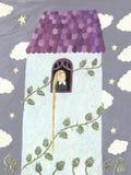 Rapunzel oder Mädchen, die durch Fenster schauen Lizenzfreies Stockfoto