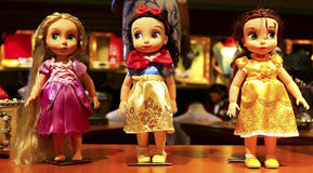 Rapunzel, snow white and belle disney dolls Stock Image