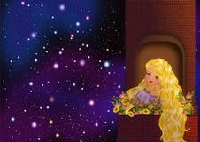 Rapunzel som stirrar på stjärnorna stock illustrationer