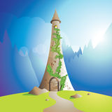 Rapunzel tower. Lonely fairytale tower surrounded by mountains Stock Photo