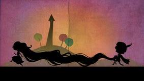 Rapunzel y su príncipe ilustración del vector