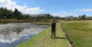 Raqch`i Walkway. Walkway near the Temple of Wiracocha. Located in the Cusco region of Peru Stock Image