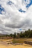 Raqchi, Inca archaeological site in Cusco, Peru  Ruin of Temple at Chacha,South America Royalty Free Stock Images