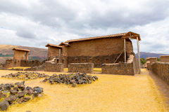 Raqchi, Inca archaeological site in Cusco, Peru (Ruin of Temple of Wiracocha) at Chacha. South America Royalty Free Stock Photo