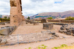 Raqchi, Inca archaeological site in Cusco, Peru (Ruin of Temple of Wiracocha) at ,South America Stock Photo