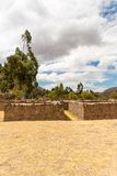 Raqchi, Inca archaeological site in Cusco, Peru  Ruin of Wiracocha  at Chacha,South America Royalty Free Stock Photo