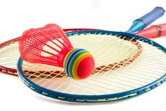 Raquet Sports. Badminton raquets with multi colored Shuttlecock Stock Photography