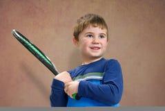Raqueta del withj del muchacho Imagenes de archivo
