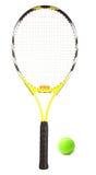 Raqueta y bola de tenis Fotos de archivo libres de regalías