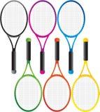 Raquetas de tenis coloreadas múltiples stock de ilustración