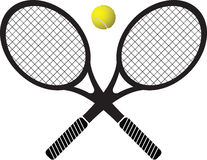 Raquetas y bola de tenis foto de archivo libre de regalías
