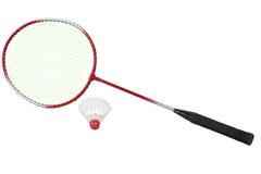 A raquete de badminton com peteca Foto de Stock