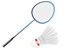 Raquete de badminton do vetor dos desenhos animados com pena fotografia de stock