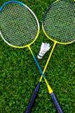 Raquete de badminton na grama Imagens de Stock Royalty Free
