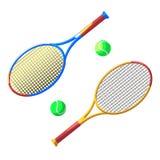 Raquete e esfera de tênis dois Imagem de Stock
