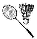Raquete e peteca de badminton do esboço da mão Imagens de Stock