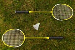 Raquetes de badminton Fotografia de Stock
