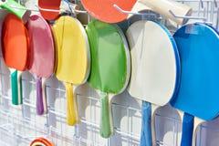 Raquetes de tênis de mesa coloridas Fotos de Stock Royalty Free