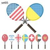 Raquetes e bandeiras de tênis Foto de Stock Royalty Free