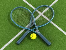 Raquetes e bola de tênis na corte de grama Imagens de Stock Royalty Free