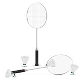 Raquetes e petecas de badminton com fundo branco Vetor Ilustração Projeto gráfico RGB Imagem de Stock