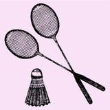 Raquette de badminton et shuttlecock Images stock