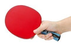 Raquette de ping-pong de main et image stock