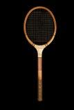 Raquette de tennis en bois de cru photo libre de droits