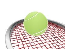 Raquette de tennis et bille verte Photos stock