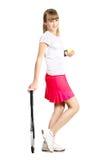 Raquette de tennis sportive d'adolescente t Photo stock