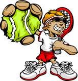 Raquette et bille de fixation de joueur de tennis de gosse Photographie stock libre de droits