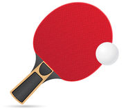 Raquette et boule pour le vecteur de ping-pong de ping-pong  Photographie stock libre de droits