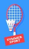 Raquette et volant de badminton sur le fond bleu Bannière de sport dans le style plat Vecteur illustration de vecteur