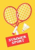 Raquettes et volant de badminton sur le fond jaune Bannière de sport d'été Style plat Vecteur illustration libre de droits