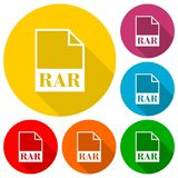 RAR file icons set with long shadow. Vector icon Royalty Free Stock Photo