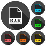 RAR file icons set with long shadow. Vector icon Royalty Free Stock Photography