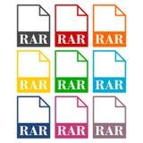 RAR file icons set. Vector icon Stock Photo