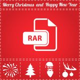 RAR Icon Vector. And bonus symbol for New Year - Santa Claus, Christmas Tree, Firework, Balls on deer antlers Stock Photography