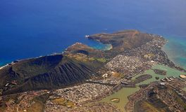 Rare an Aerial view of extinct volcanic crater in Hawaii. Diamond. Head is a volcanic tuff cone on the island of Oahu known to Hawaiians as La-hi resembles the stock images