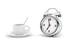 Rare Alarm Clock with Coffee Cup Royalty Free Stock Images
