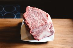 Rare authentic A5 Grade Japanese Wagyu beef Filet Mignon with high-marbled texture. Boneless and juicy for making Shabu and sushi.  royalty free stock photography