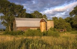 Rare Barn with Wooden and Tile Silos Royalty Free Stock Photos