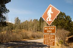 A rare Bigfoot Crossing sign royalty free stock image